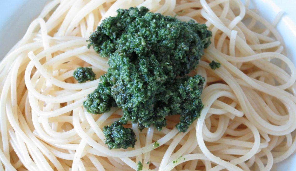 Karottengrün Möhren Spaghetti Nudeln Resteverwertung Kochen Rezept Pasta